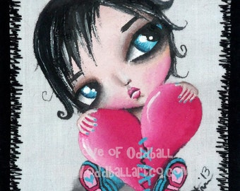 Mixed Media Kawaii Big Eye Giclee Art Print Signed Reproduction My Big Heart by Lizzy Love [IMG#78]