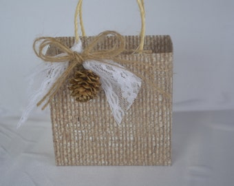Fall wedding party favor bag/box with pinecone