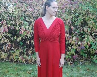 1970s Vintage Red Dress Jack Hartley Inc - S