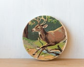 Paint by Number style Circle Art Block 'Leaping Buck' - deer, stag, woodland, vintage art