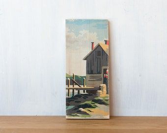 Paint by Number Art Block 'Fishing Shack' - marina, fishing, sailing, seascape, vintage art
