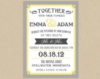 Printable Wedding Invitation - Yellow and Grey Vintage Typographic Poster Style
