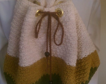 sporty cotton,crochet  backpack,off white/mustard/dark green