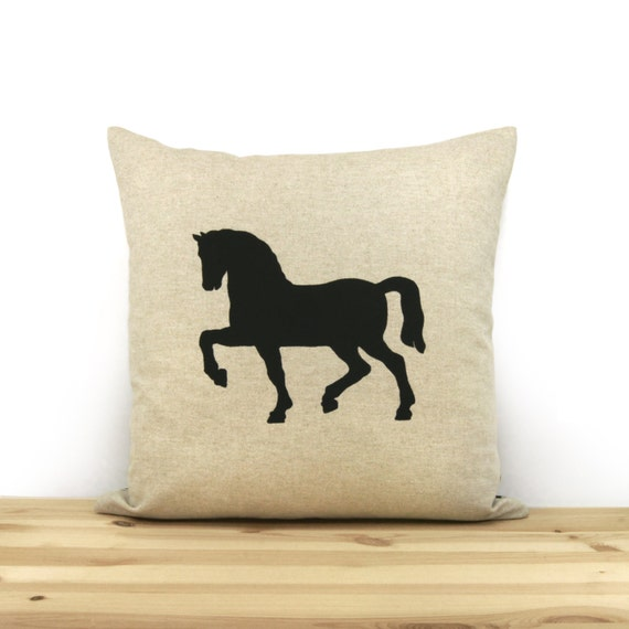 Black, beige & greek key accent horse decorative throw pillow / 16x16 horse cushion cover, pillow case / Modern Equestrian Decor