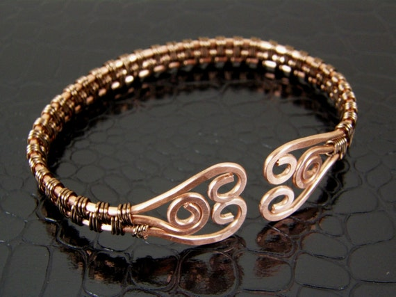 Reserved For Katie Wire Wrap Hammered Copper Amp By Bonzerbeads