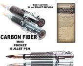 Mini bolt action pen for sale small pocket pen bullet pen handmade carbon fiber body retractable ballpoint pen gift for hunter gun shooter