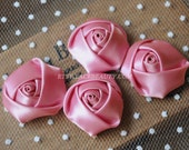"4pcs Pourpre Satin Rose Flowers For Headwear Decor Fashion Costume 1.37"" Wide"