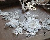 Ivory Lace Appliques Gorgeous 3D Large Flower Beaded Patches For Wedding Supplies Version B 1 pcs