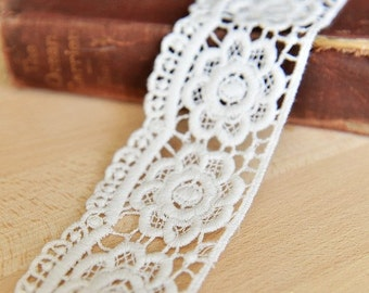White Cotton Venice Lace Trim Exquisite Rose Embroidered Hollowed Out Lace 1.96 Inches Wide 2 yards