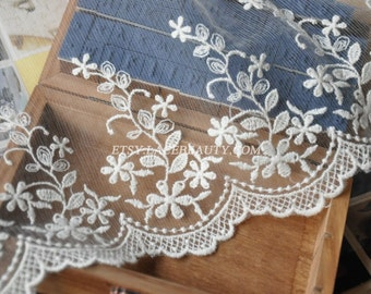 Off White Cotton Tulle Lace Trim Floral Embroidered Lace 5.9 Inches Wide 2 yards