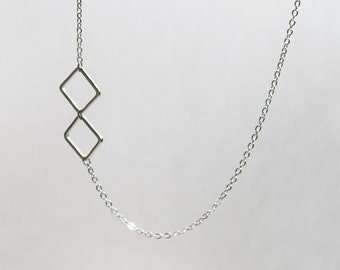 Tiny silver two Square Necklace - S2305-1