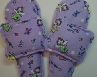 Flannel Foot Warmers Flax Seed Sock/Slippers inserts and Toasty Hand Warmers Set Purple with Fairies