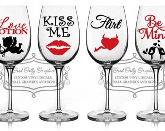 Valentine decal set 8 wine glass decal set