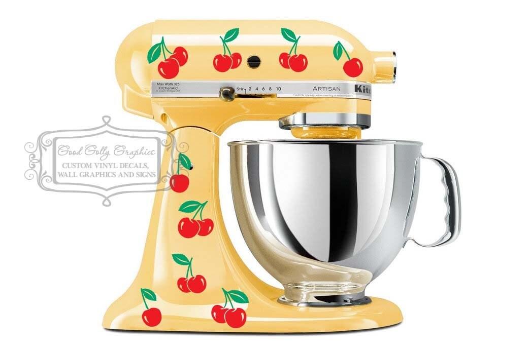 Kitchen Mixer Decals ~ Kitchen mixer vinyl decal two color sets of cherries