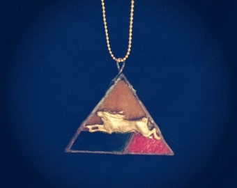 Triangle Bunny Stained Glass Necklace