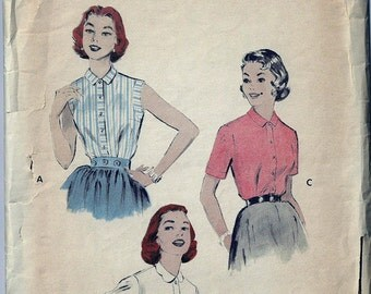 Midcentury Blouses Sewing Pattern -Size 14 Bust 32 Butterick 7022