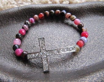 Silver Crystal Side Cross Bracelet with Mixed Striped Agate Beads