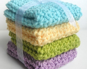 Crochet Dishcloths Washcloths - Set of 4 - For Kitchen, Bathroom, Baby - Aqua, Yellow, Green, Lavender - 100% Cotton