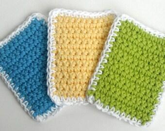 Crochet Sponge Dishcloth Washcloth - THICK - Set of 3 - Blue, Lime Green, Yellow - 100% Cotton