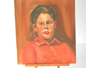 Vintage Oil Portrait: Sullen Young Boy in Orange Mid Century Painting