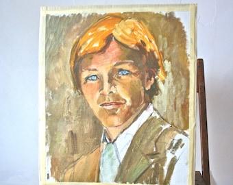 Vintage Oil Portrait: Blue- Eyed Man