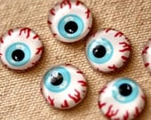 12pcs 14mm Handmade Faceted Glass  Cabochon  Covers  Eyeball