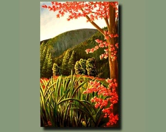 COLOR VIEW- Watch it change w/ the lite, Huge acrylic painting-  (landscape, trees, leaves, grasses, fall, mountains) signed by DanaC