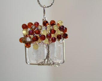 Square Fall Tree Of Life Necklace