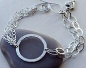 Eternity Bracelet, Chain Bracelet, Multi Strand Bracelet, Silver Chain Bracelet, Charm Bracelet, Mothers Gift, Everyday Bracelet