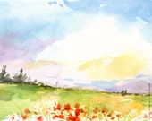 "Landscape Watercolor Print: ""Field of Red Flowers"" (8x10)"