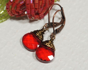 Glass Drop Earrings Red Briolette Earrings Copper Earrings