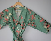 READY to SHIP LARGE Mid Calf Kimono Robe. Dressing Gown. Hospital Robe. Spa Robe. Garden Teal. Fabric by Alexander Henry.