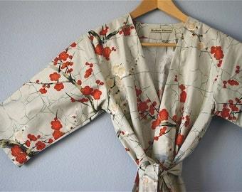Kimono Robe. Bridesmaids Robe. Dressing Gown. Maternity Robe.Golden Garden Grey. Knee Length. LAST ONE.