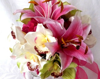 4 Piece set Orchid Bridal Bouquet green hot pink and white orchid tropical wedding bouquet destination wedding