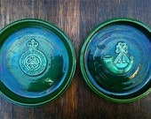 Vintage Green Bowls / Yorkshire Volunteers / Horn / English Shop