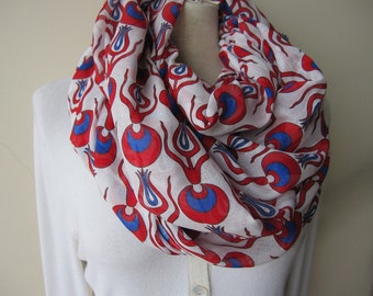 white Royal blue red scarf - Ottoman cintemani print Infinity scarf-Anatolian scarf-women's scarves-woman fashion accessories-gifts for her