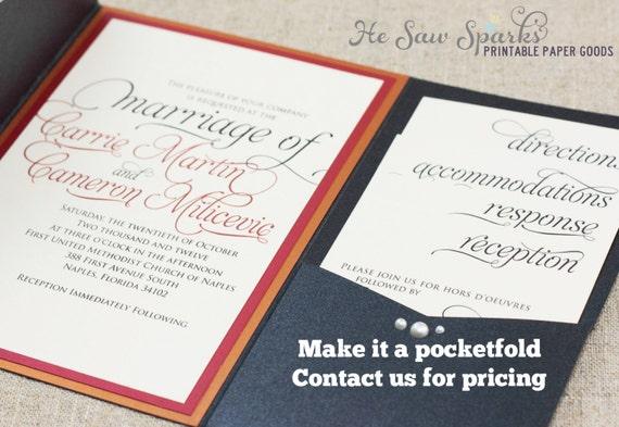 Ornate Script Wedding Invitation Package Printable DIY