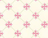 """End of Bolt 1 yard 16"""" Blushing Cream with Pink Flower by Margot Languedoc for Henry Glass"""