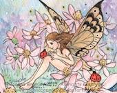 "Original miniature Wall Art - ""Daisy Pink""- whimsical fairy fantasy spring floral art"