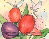 "Original miniature framed art - ""Tulip Wisps"". whimsical flower fairy wisp fantasy spring wall art"