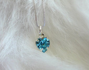 Dainty Aquamarine Swarovski heart pendant with Sterling silver chain - March birthday necklace -Free shipping to Canada & USA