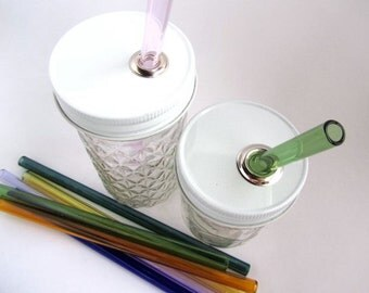 1 Piece Jar To Go Cup Lid with Glass Straw