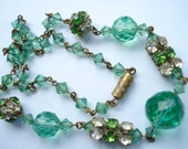 Art Deco Necklace  Rhinestones and GreenGlass Beadss 1920's 1930's