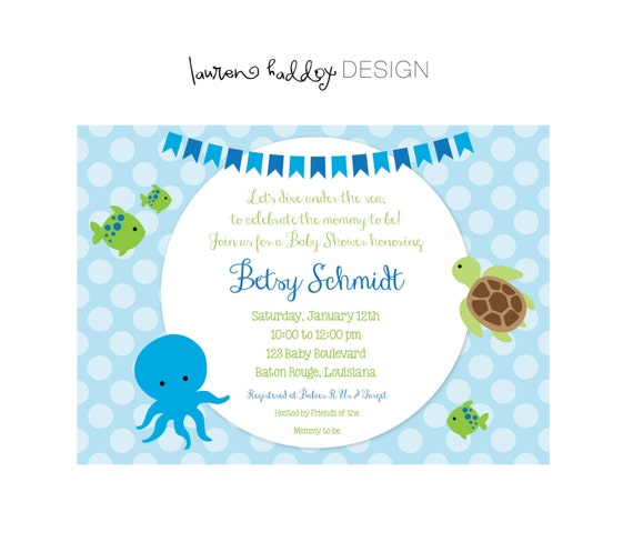 Items Similar To DIY, Under The Sea, Baby Shower INVITATION On Etsy