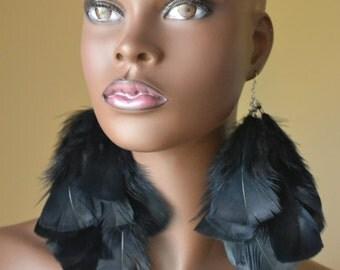 Feather Earrings in Black