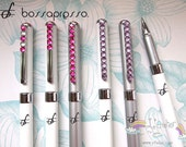 White and Silver Fiber Stylus (Pink & Purple) for iPad and Tablets with Crystal Decorations