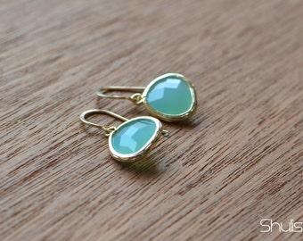 Gold Framed Bright Turquoise Earrings