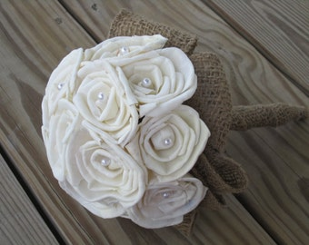 Sola flower bouquet - custom made - sola roses, pearls and burlap