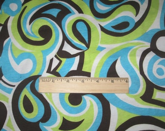 Gorgeous Turquoise, Brown and Lime Paisley Swirl Cotton Jersey