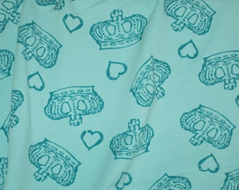 Pretty Teal  Royal Crowns on  Cotton French Terry Knit FAbric -